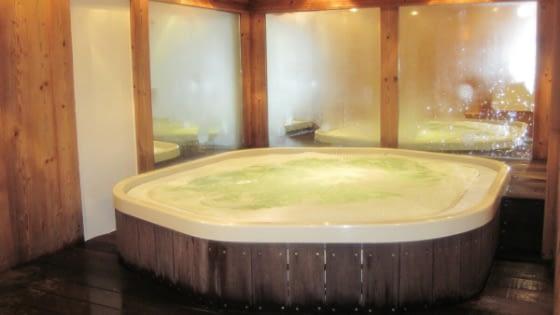 Kolam renang spa memiliki desain yang mungil dan cocok untuk lahan sempit.